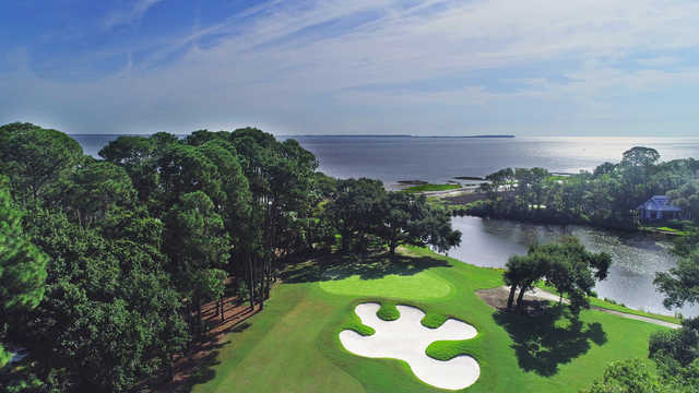 Aerial view of the 6th hole from Oyster Reef Golf Course