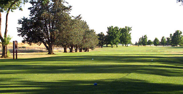 A view of a tee at Mather Golf Course.