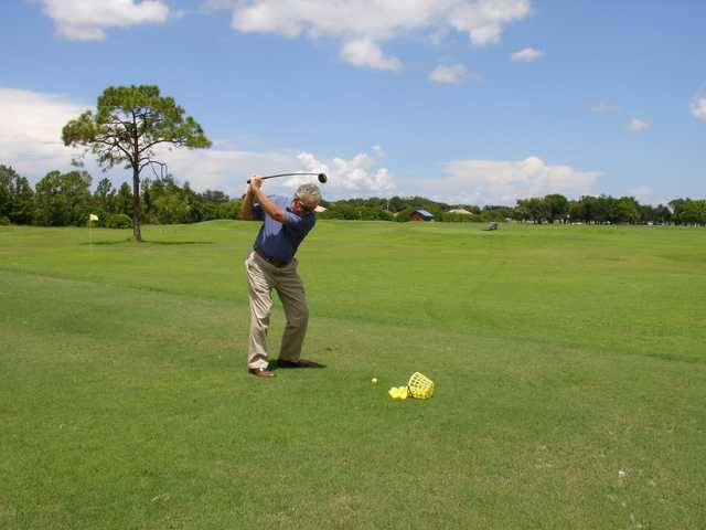 A view of the driving range at Coral Oaks Golf Course.