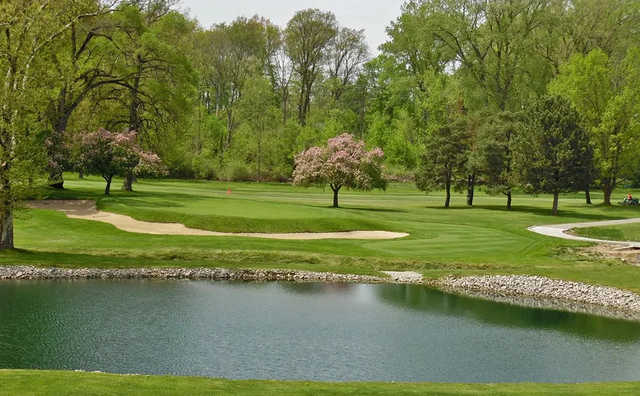 A spring day view of a hole at Plum Brook Country Club.