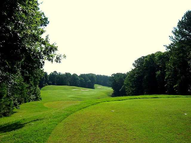 A sunny day view from a tee at Towne Lake Hills Golf Club.