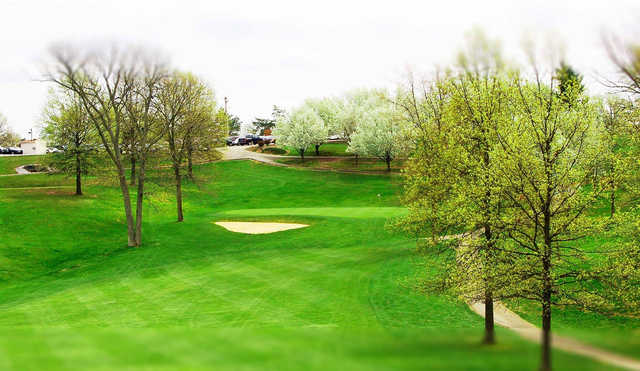 A spring day view of a green at Golf Courses at Kenton County.