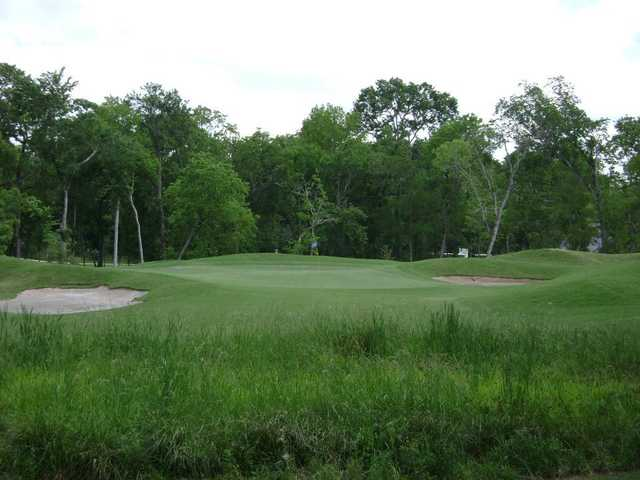 A view of a hole flanked by bunkers at Sienna Plantation Golf Club.