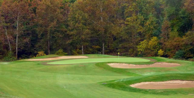A view of a well protected green at Montclair Country Club.