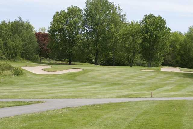 A view of a hole flanked by bunkers at Bay of Quinte Country Club.