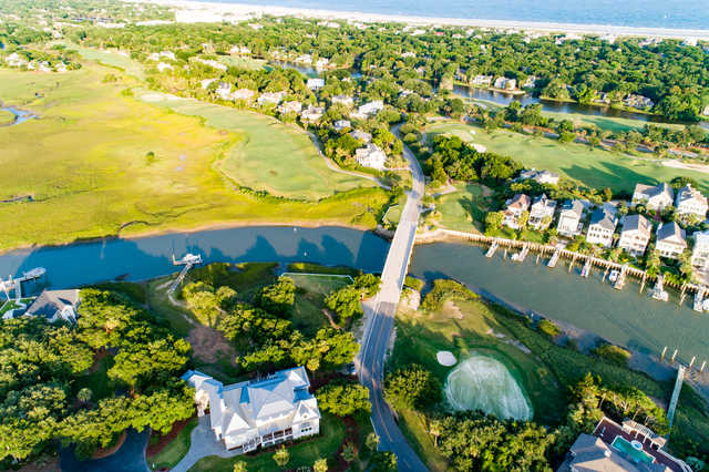 Aerial view of the 16th and 17th holes from Harbor Course at Wild Dunes Golf Links