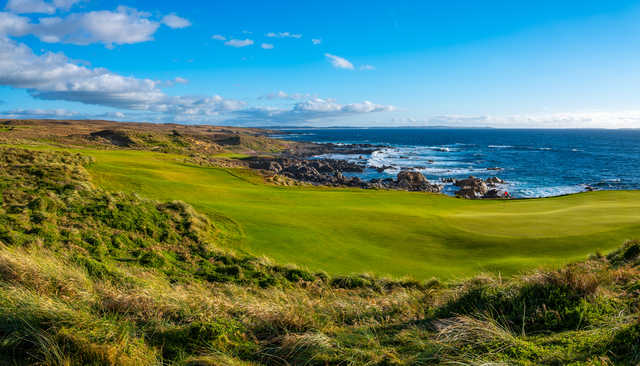 View of the 12th green at Cape Wickham Links