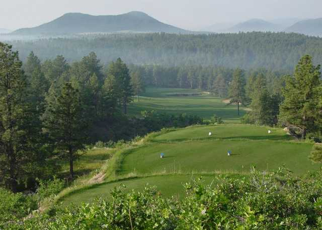 A view of a tee from The Golf Club at Bear Dance.