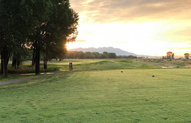 A sunset view of a tee at Cattails Golf Club.
