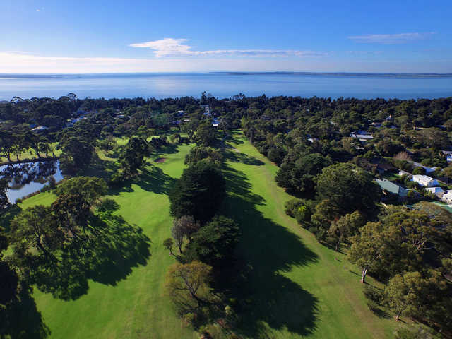 Aerial view from Phillip Island Golf Club