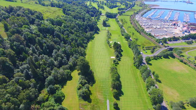 Aerial view of the 3rd and 16th green from Largs Golf Club