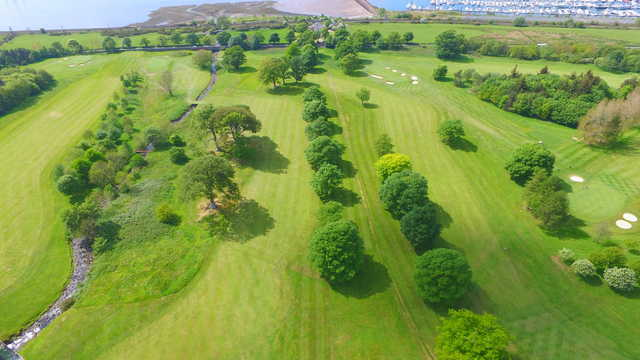 View of the 10th, 11th and 14th greens at Largs Golf Club.