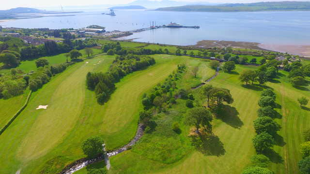 Aerial view from the Largs Golf Club towards Arran.