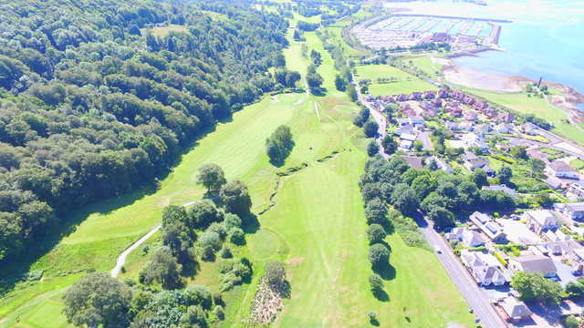 Aerial view of the 2nd and 18th holes at Largs Golf Club