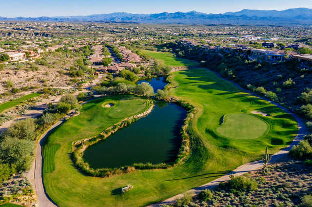 Aerial view of greens no. 14 and no. 13 at SunRidge Canyon Golf Club