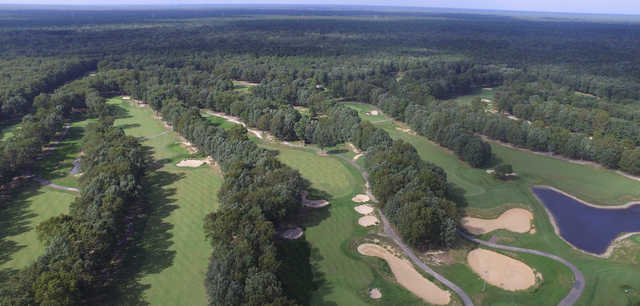 Aerial view of the 10th, 18th, 1st and 9th holes at White Oaks Country Club