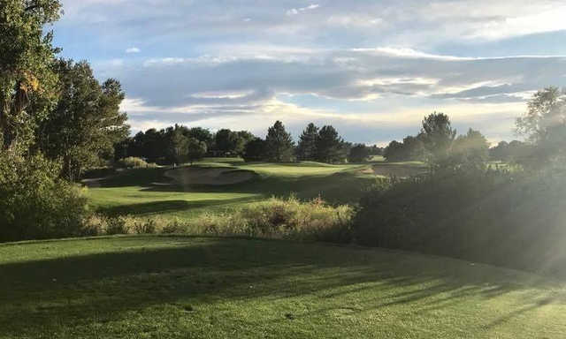 A sunny day view from a tee at The Links Golf Course.