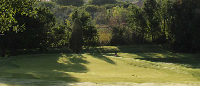 A sunny day view of a green at Valley Hi Municipal Golf Course.