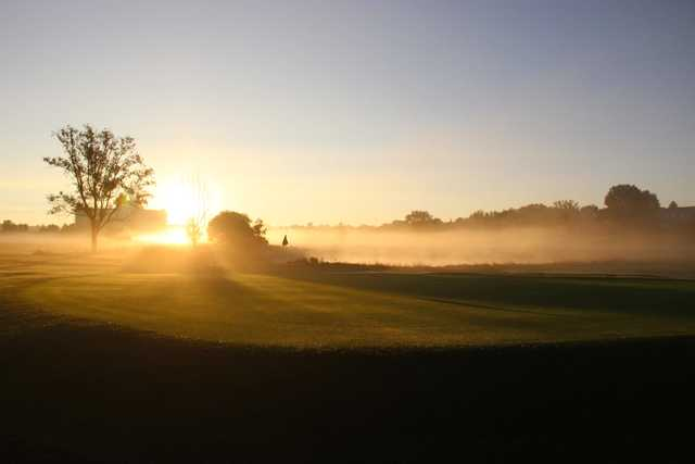 A sunset view of hole #17 at Valley Hi Municipal Golf Course.