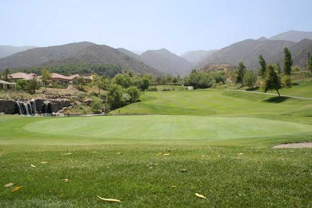 A view of the downhill par-3 7th hole at Glen Ivy Golf Club