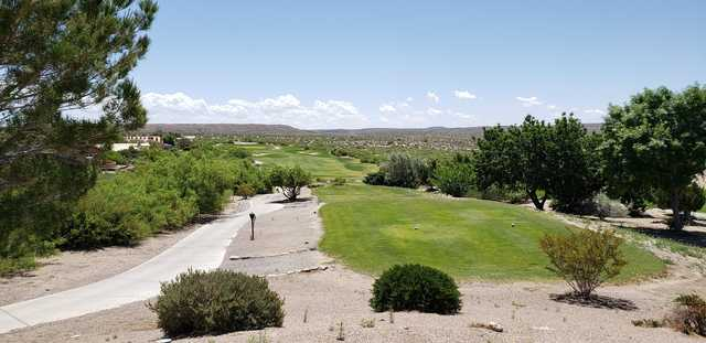A view of a tee at Sierra del Rio Golf Course.