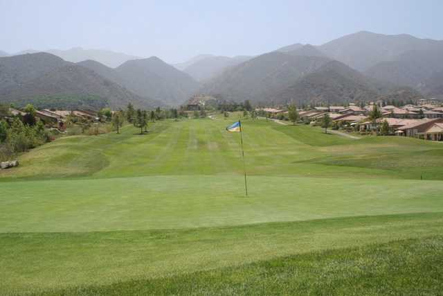 Looking back at the tee zone from the 10th green at Glen Ivy Golf Club