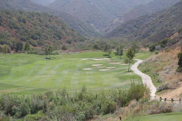 Avoid the bunkers near the15th hole from Glen Ivy Golf Club