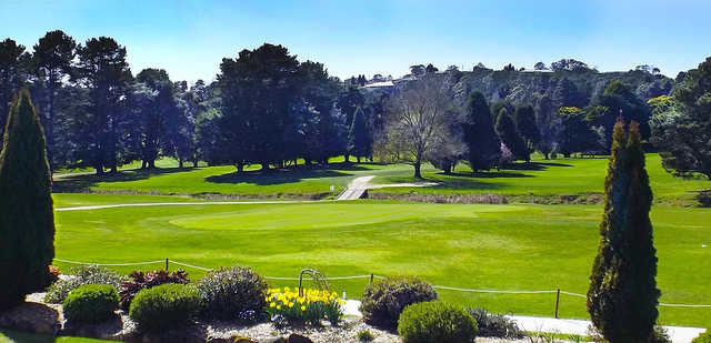 A sunny day view of a green at Moss Vale Golf Club.