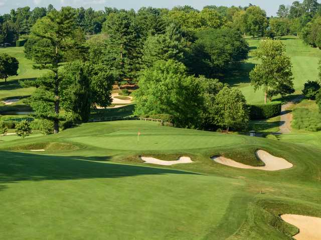 View of a bunkered green at Woodholme Country Club