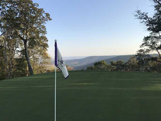 Looking back from a green at The Course at Sewanee