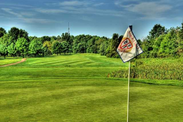 A view of hole #17 at Windmill Lakes Golf Club.