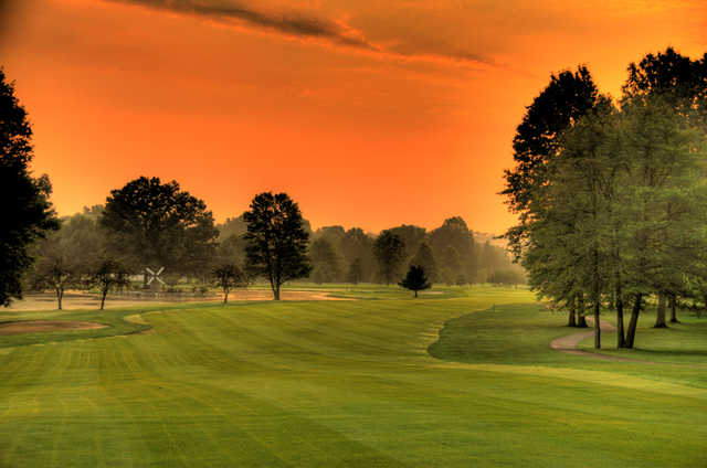 A splendid sunset view from a fairway at Windmill Lakes Golf Club.