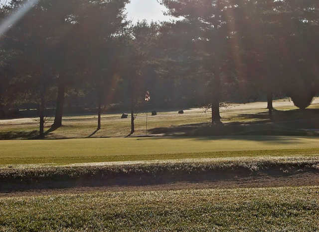 A sunny day view of a hole at Bowie Golf Club.