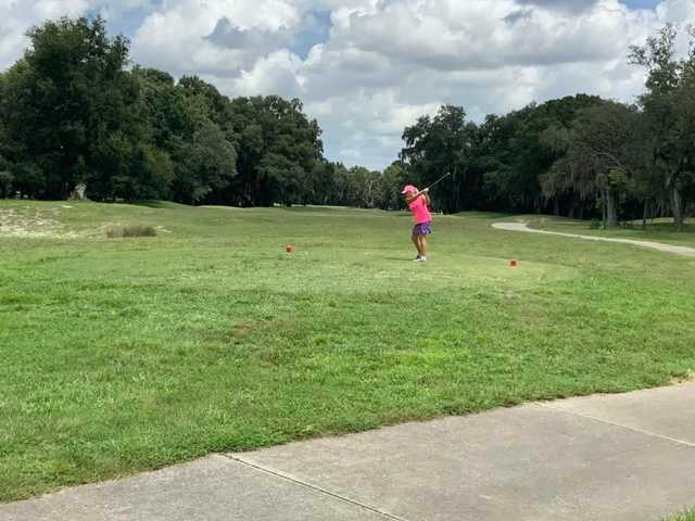 A view of a tee at The Spruce Creek Preserve Golf Club