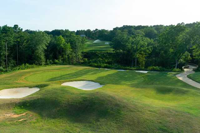 A view of a well protected hole at Tempest Golf Club.