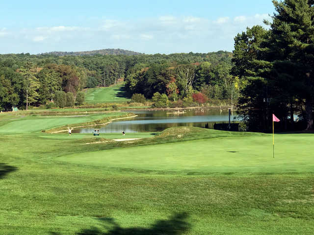 A fall day view of a hole from Toftrees Resort.