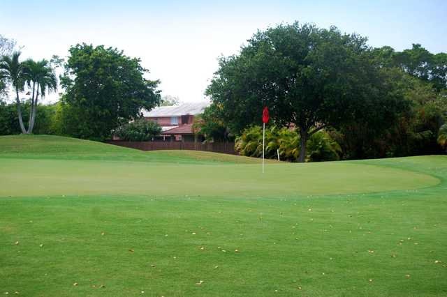 A view of the longest par 4 on the golf course, the 10th green at Country Club of Coral Springs.