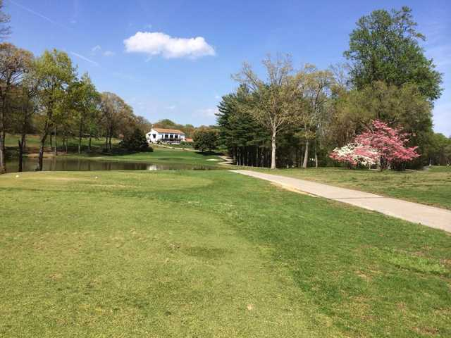 A view from a tee and the clubhouse in the distance at Bay Hills Golf Club.