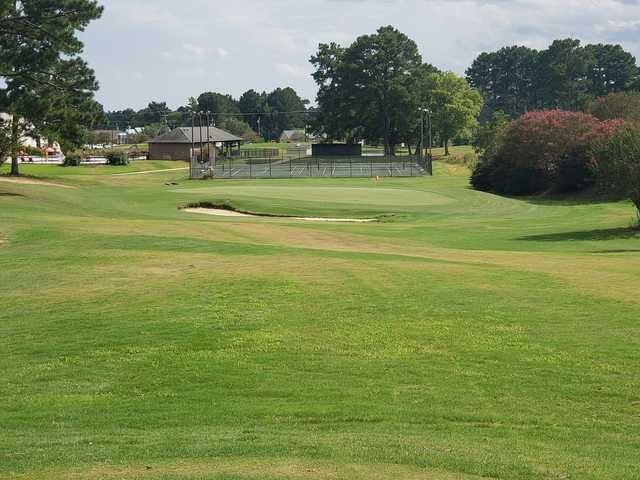 A view of a green from Lion Hills Golf Course at East Mississippi Community College.