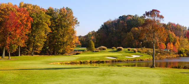 A view of a green with water coming into play at Princeton Country Club.
