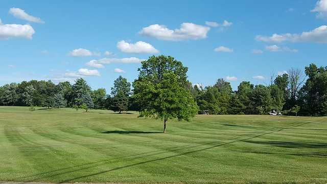 A sunny day view of a hole at Lakeside Golf Course.