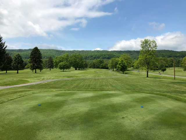 A sunny day view from a tee at Sinking Valley Country Club.