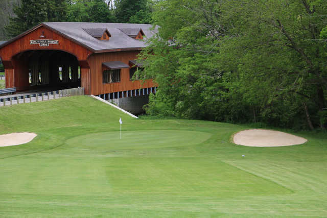 View of the 3rd green and bridge at Kings Mill Golf Club