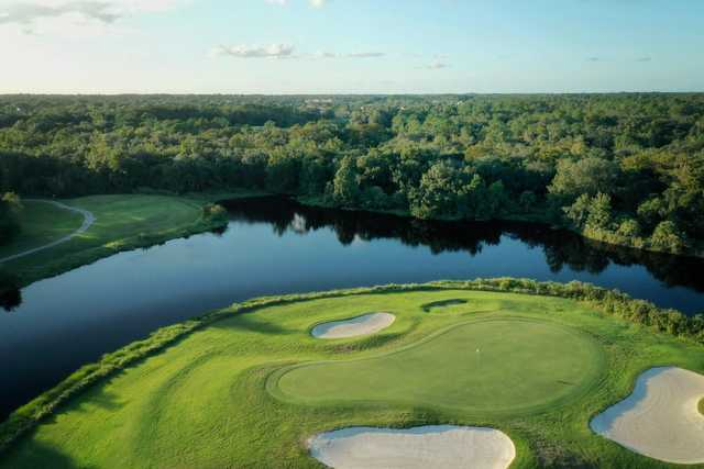 Aerial view of the 7th hole from Twin Rivers Golf Club