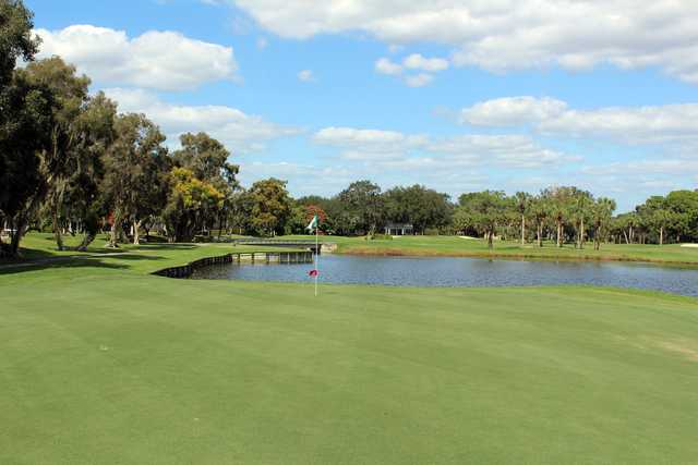 A view of the signature hole, #16 at Boca Royale Golf & Country Club.