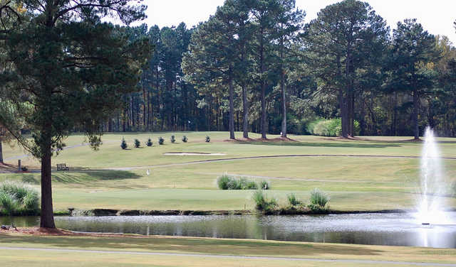 A view of three holes at Wendell Country Club.