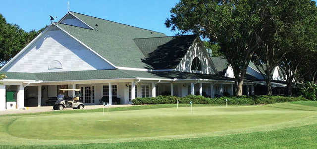 A view of the clubhouse and practice putting green at Halifax Plantation.