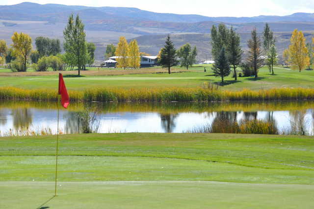 View of the 11th green from the 14th at Yampa Valley Golf Club