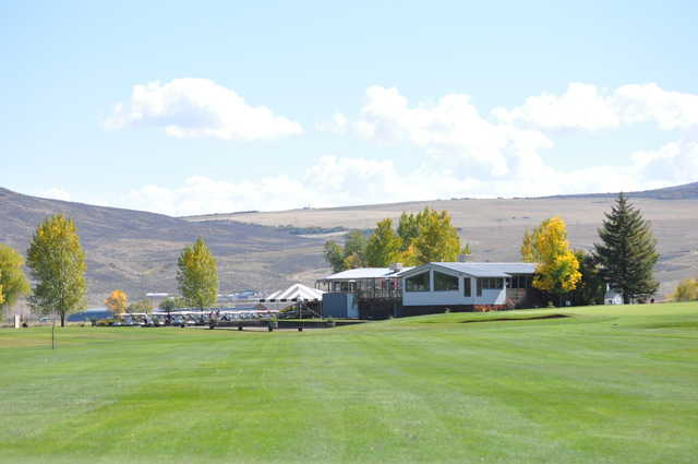 View of the clubhouse from the 18th fairway at Yampa Valley Golf Club