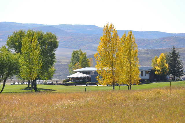 View of the clubhouse from the 18th at Yampa Valley Golf Club